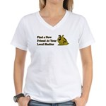 Find a New Friend - Brown Dog Women's V-Neck T-Shi