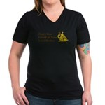 Find a New Friend - Brown Dog Women's V-Neck Dark