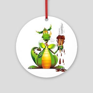 Fun Dragon with Ice Cream Round Ornament