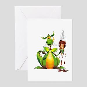 Fun Dragon with Ice Cream Greeting Cards