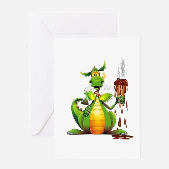 Fun Dragon with Ice Cream Greeting Cards