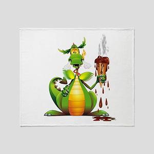 Fun Dragon with Ice Cream Throw Blanket
