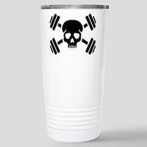 Crossed barbells skull Stainless Steel Travel Mug