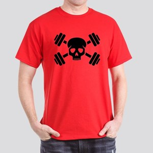 Crossed barbells skull Dark T-Shirt
