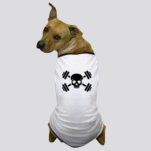 Crossed barbells skull Dog T-Shirt
