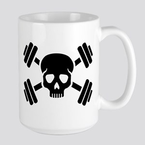 Crossed barbells skull Large Mug