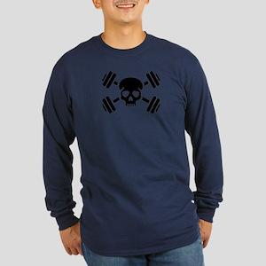 Crossed barbells skull Long Sleeve Dark T-Shirt