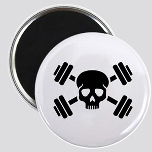 Crossed barbells skull Magnet
