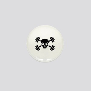 Crossed barbells skull Mini Button