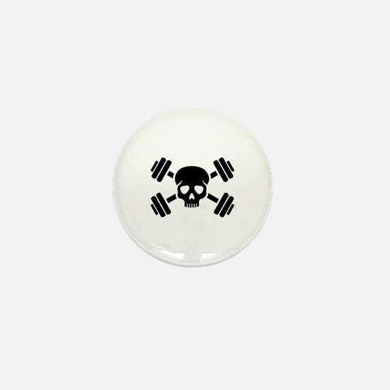 Crossed barbells skull Mini Button
