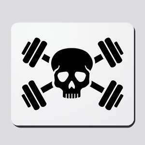 Crossed barbells skull Mousepad
