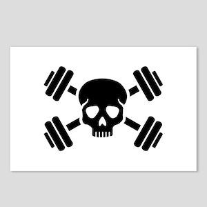 Crossed barbells skull Postcards (Package of 8)