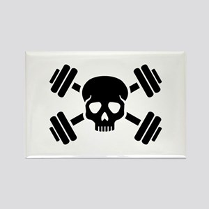 Crossed barbells skull Rectangle Magnet