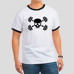 Crossed barbells skull Ringer T