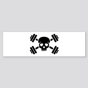 Crossed barbells skull Sticker (Bumper)