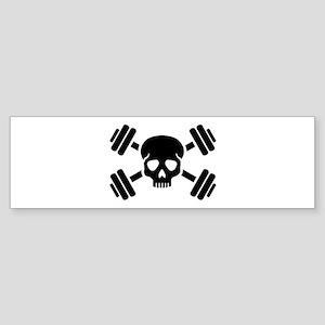 Crossed barbells skull Sticker (Bumper)
