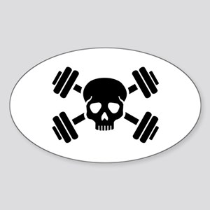 Crossed barbells skull Sticker (Oval)