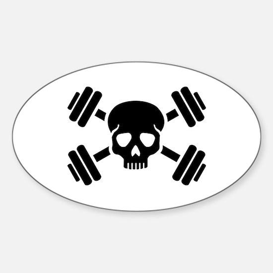 Crossed barbells skull Sticker (Oval)