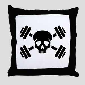 Crossed barbells skull Throw Pillow