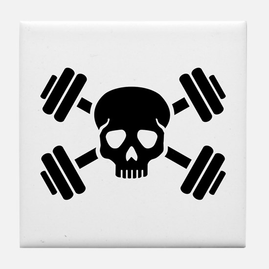 Crossed barbells skull Tile Coaster
