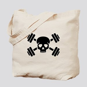 Crossed barbells skull Tote Bag