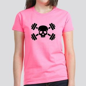 Crossed barbells skull Women's Dark T-Shirt
