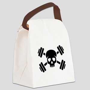 Crossed barbells skull Canvas Lunch Bag