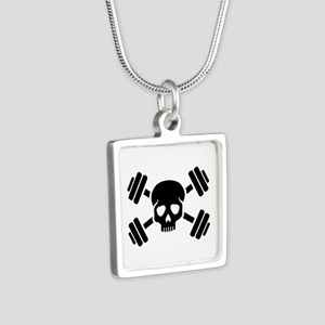 Crossed barbells skull Silver Square Necklace