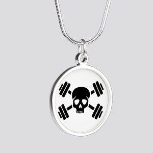 Crossed barbells skull Silver Round Necklace