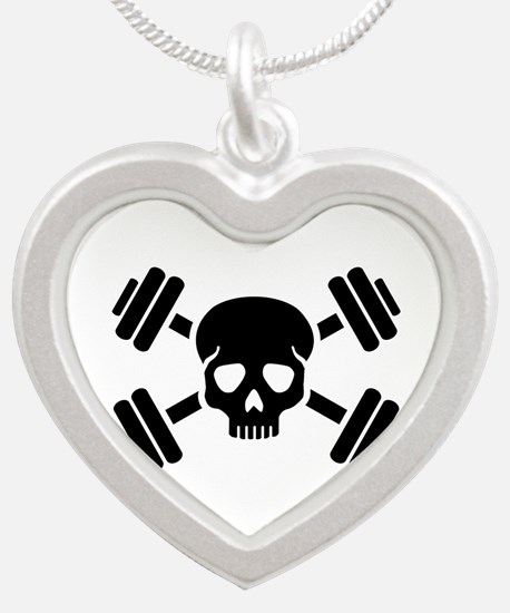 Crossed barbells skull Silver Heart Necklace