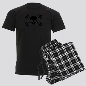 Crossed barbells skull Men's Dark Pajamas