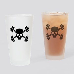 Crossed barbells skull Drinking Glass