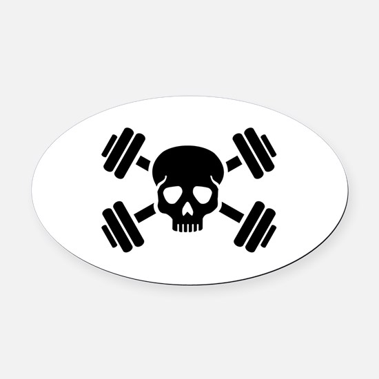 Crossed barbells skull Oval Car Magnet
