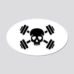 Crossed barbells skull 20x12 Oval Wall Decal