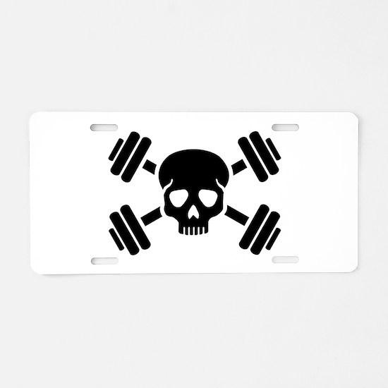 Crossed barbells skull Aluminum License Plate