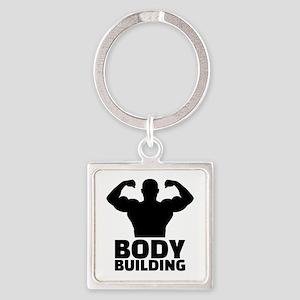 Bodybuilding Square Keychain