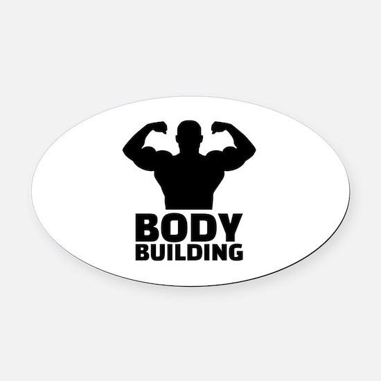 Bodybuilding Oval Car Magnet