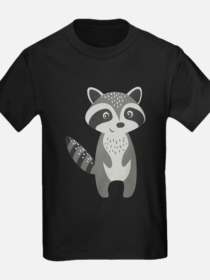 Cute Cartoon Raccoon Illustration Gray And T-Shirt
