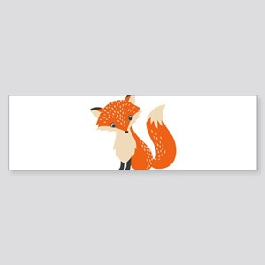 Cute Red Fox Cartoon Illustration Bumper Sticker