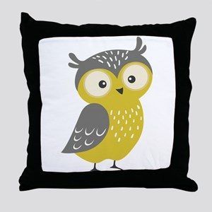 Cute Owl Cartoon Illustration In Lime Throw Pillow