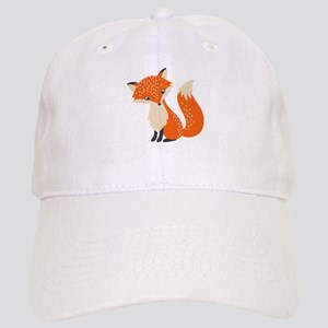 Cute Red Fox Cartoon Illustration Cap