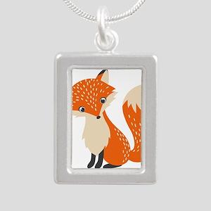 Cute Red Fox Cartoon Illustration Necklaces