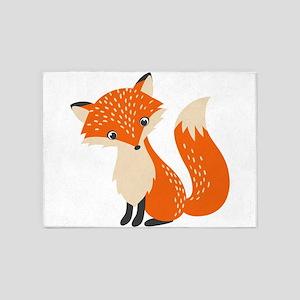 Cute Red Fox Cartoon Illustration 5'x7'Area Rug