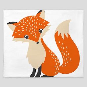 Cute Red Fox Cartoon Illustration King Duvet