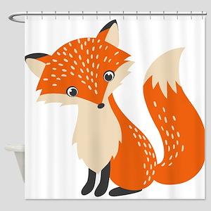 Cute Red Fox Cartoon Illustration Shower Curtain