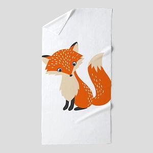 Cute Red Fox Cartoon Illustration Beach Towel