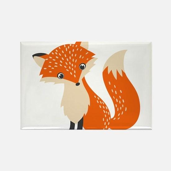 Cute Red Fox Cartoon Illustration Magnets