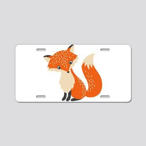 Cute Red Fox Cartoon Illust Aluminum License Plate
