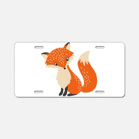 Cute Red Fox Cartoon Illust Aluminum License Plate