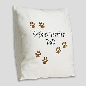 Boston Terrier Mom Burlap Throw Pillow